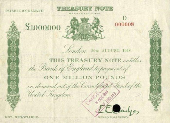 سندات خزانة في لندن عام 1990 - 292 مليون جنيه استرليني
