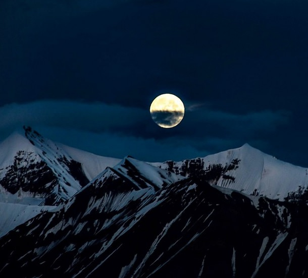 القمر فوق حديقة Denali الوطنية للمصور Lian Law