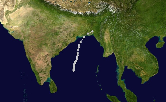 إعصار بنغلادش/شرق باكستان عام 1970 - 500 ألف شخص