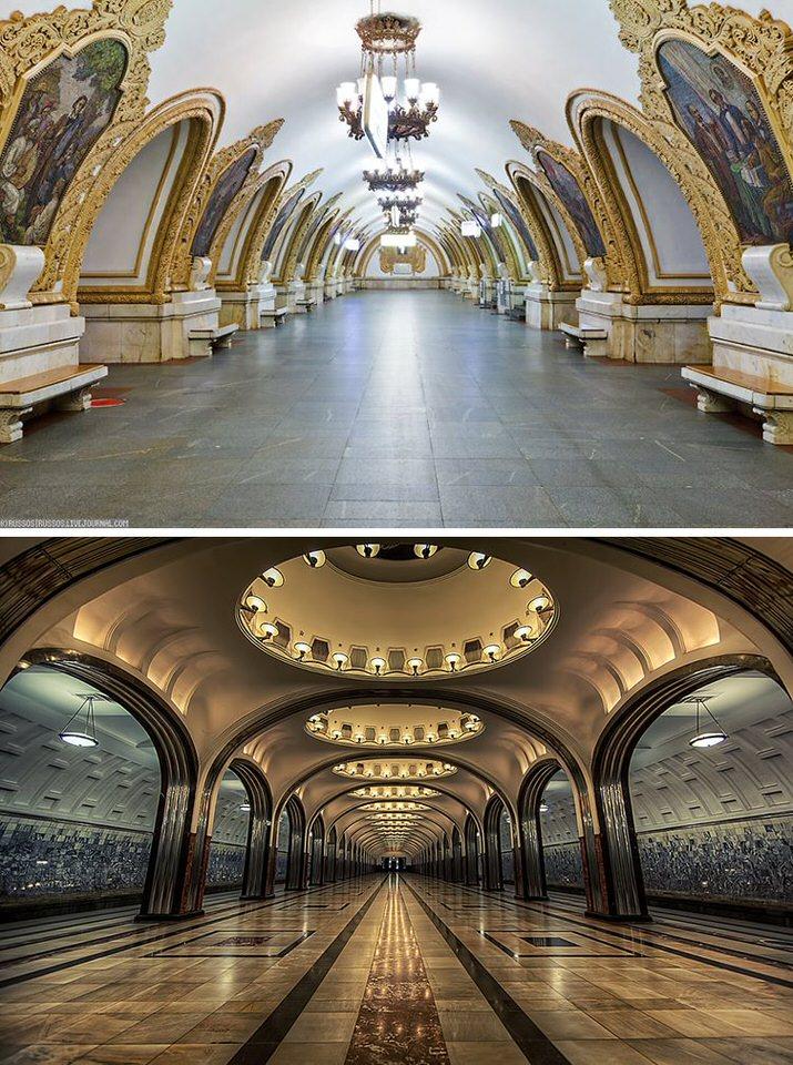 محطات القطار كييفسكايا وماياكوفسكايا | موسكو | روسيا